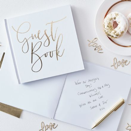 White & Gold Guest Book